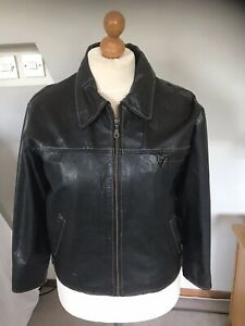 MILAN MENS REAL BLACK LEATHER CLASSIC JACKET SIZE 44 Chest