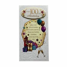 Happy 100th Birthday Open Soft Whispers Card