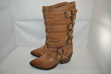 NaughtyMonkey  Boots Strappy Buckles Harness Biker Cognac Leather Women 6 M