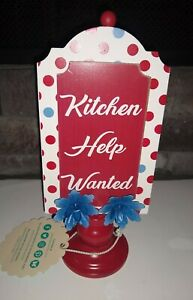 Pioneer Woman Kitchen Help Wanted Polka Dot Blue Flowers Sign NEW