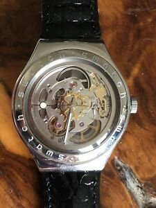 Swatch Watch Skeleton Irony Yas100 Body & Soul 1997 Leather Strap