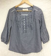 DKNY Gray White Striped Ruffle Flared Sleeve Blouse Top