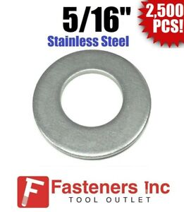 """(2500) 5/16"""" Stainless Steel Flat Washers (18-8 Stainless) 3/4"""" OD / .050 Thick"""