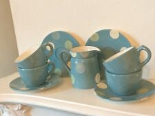 4 X STUNNING LAURA ASHLEY HAND PAINTED DOTTY CUP AND SAUCER SETS  And  Jar milk