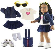 "Denim Wear Doll Clothes+bag+glasses+socks+shoes for 18"" inch American Girl Doll"