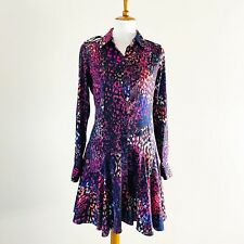 Bebe Shirt Dress Button Front Fit & Flare Colorful Animal Print Size Small