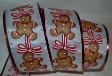 """Wired Ribbon~Christmas Gingerbread Man~Red~White~Holiday~2.5""""~Wreath~Gift~Bow"""