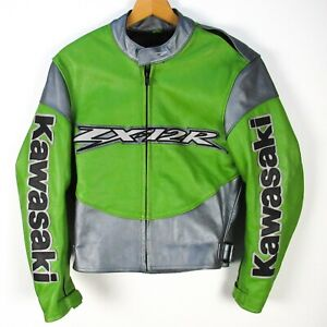 Kawasaki ZX-12R Leather Jacket Mens S Green Silver Motorcycle Biker Racing Heavy