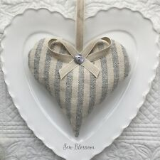 1 SUSIE WATSON CHARCOAL NATURAL STRIPE Lavender Filled Fabric Heart PINSTRIPE