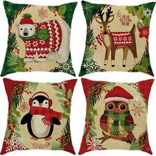 """18"""" Christmas Penguin Cotton Linen Cushion Cover Pillow case Home Decor"""