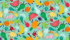Fabric 100% cotton, Makower UK. Fruity Friends Scatter Blue 1940/B