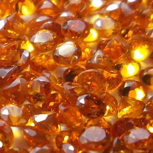 2.1 MM Round Excellent Natural Mandarin Orange Spessartite Garnet 100 Piece Lot