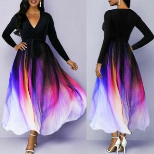 Women Evening Cocktail Party Swing Dresses Long Sleeve V Neck Maxi Dress