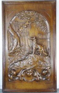French Antique Deep Carved Architectural Walnut Wood Panel Fable de La Fontaine