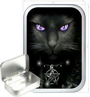 Witches Cat Gift Box,150ml Silver Hinged Tin,Tobacco Tin,Storage Tin