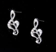 Heart Music Notes Treble G-Clef Austrian Crystal Silver Tone Stud Earrings Love