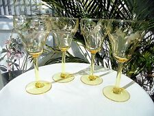 Set of 4 Topaz Color Floral Cutting Wine Glasses c1950's RARE