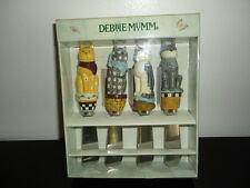 Artist Debbie Mumm Garden Cat Jelly Cheese Spreaders Wood Steel Carved Boxed Set