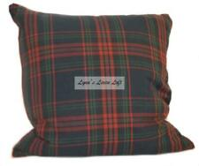 "RALPH LAUREN Plaid DECORATIVE PILLOW Red Blue Green Tartan Cotton 20"" X 20"" NEW"