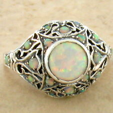 WHITE LAB OPAL .925 STERLING VINTAGE VICTORIAN DESIGN SILVER RING SIZE 9,   #760