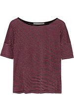 EX CON Kain Size L Top T-Shirt Crop Pink Black Stripe Designer Short Sleeve