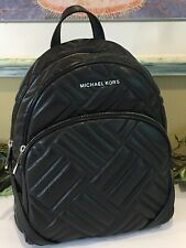 MICHAEL KORS ABBEY MEDIUM BACKPACK BAG BLACK QUILTED LEATHER SILVER $528