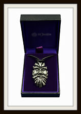GREENMAN ~ GREEN MAN PEWTER PENDANT ON LEATHER THONG ~ FROM ST JUSTIN ~ FREE P&P