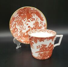 Royal Crown Derby RED AVES (OLDER) Queen Ann Cup & Saucer EXCELLENT