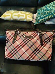 Auth Burberry BLUE LABEL red stripes Shoulder Tote Bag Nylon / Leather