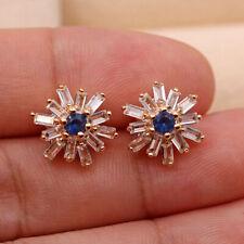 18K Gold Filled - Rectangle Zircon Flower Blue Sapphire Stud Wedding Earrings SW