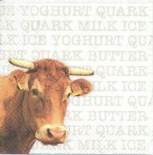 2 Serviettes en papier Vache écritures Decoupage Paper Napkins Cow