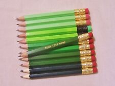 """24 """"Shades of Green""""  Personalized Golf Pencils with Erasers"""