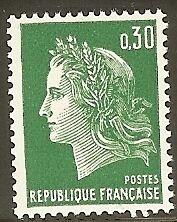 "FRANCE N°1536A ""MARIANNE CHEFFER 30c VERT"" NEUF xx TTB"