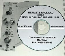 HP Hewlett Packard 8802A Medium Gain DC Preamplifier, Service & Operating Manual