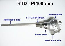 RTD(resistance temperature detect)with head Pt100ohm Probe Sensor PT1/2'' 200mm