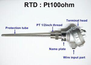 RTD(resistance temperature detect)with head Pt100ohm Probe Sensor PT1/2'' 200mm