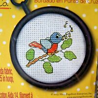 Maxy & Co. Counted Cross Stitch Kit Spring Singing Bluebird Bird w/Frame 3.25""
