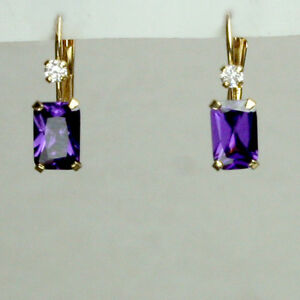 14K solid yellow gold rectangular Amethyst stone Leverback earrings