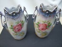 ANTIQUE EUROPEAN  PAIR  PORCELAIN VASES WITH  RED ROSES DESIGN  VINTAGE 1900's