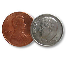 Dime and Penny Close Up Coin Magic Trick Deluxe Set Bang Ring + 3 Bonus Tricks