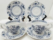 4 Saucers 2 Footed Tea Cups Blue Nordic Johnson Brothers England Ironstone Lot