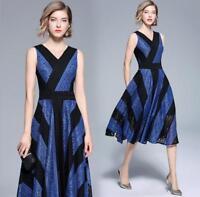 Hot WOmen's Summer Fashion Sleeveless Lace V Neck Slim fit Knee Long Dress