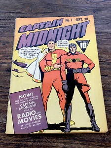 Captain Midnight Golden Age Comic Book 1 1942 Clean Raw