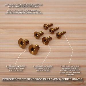 Custom Titanium 7pc BRONZE Screw Set fits Spyderco Paramilitary Para 3 PM3 Knife