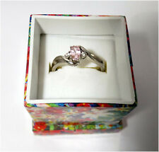 925 Sterling Silver Ring w/ Pink & White Cubic Zirconia, Size 8.75