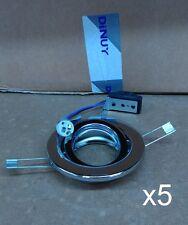 5x 12v G5.3 Chrome Low Voltage Adjustable/Tilt Fitting 105mm Overall Diam. DL-9