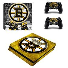 PS4 Slim Console Skin Decal Boston Bruins NHL Vinyl Stickers Cover 2 Controllers