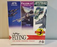 1995 Softkey Flying CD-ROM Power Pack 3 PC Simulator Games, Jetstrike Falcon NEW