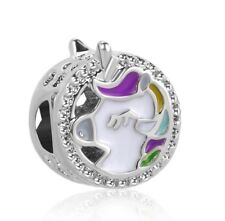 Cute Unicorn Round Charm For Bracelets Silver Plated Pink Purple