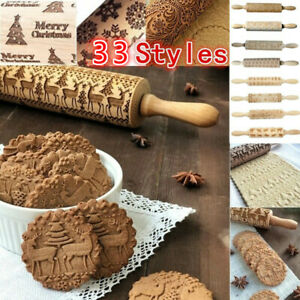 33 Style Embossed Rolling Pin Carved Baking Cookie Biscuit Dough Roller Roller